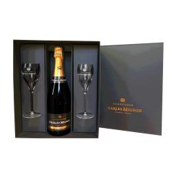 Coffret Cadeau 1 bouteille 2 flûtes à Champagne